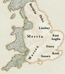Det engelske området på 600-tallet